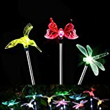 (Paquete de 3) Luces LED para jardín solar al aire libre, Luz de estaca para jardín con energía solar Chameleon Luz LED cambi