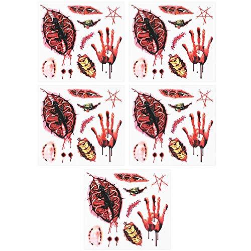 oräre Tattoo 3D Wasserdicht Aufkleber Narbe Spinne Aufkleber für Halloween Maskerade Streich Make Up(Narbe 5Pcs) ()