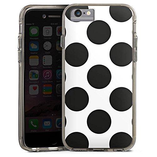 Apple iPhone 7 Bumper Hülle Bumper Case Glitzer Hülle Punkte Dots Rockabilly Bumper Case transparent grau