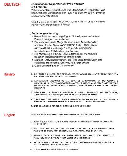 Yachticon Schlauchboot Reparaturset - grau - Profi Neopren für Gummiboot - 2-komponenten Reparatur set für Neopren hypalon Synotex bestehend aus Flicken, Kleber, Härter, Rauhpapier, Pinsel -grau -