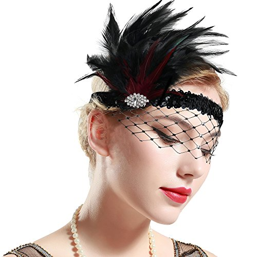 ArtiDeco 1920s Stirnband Feder mit Abnehmbarem Netz Damen 20er Jahre Fascinator Stil Flapper Charleston Haarband Great Gatsby Damen Fasching Kostüm Accessoires (Schwarz Weinrot)