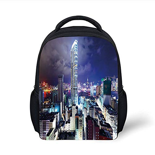 Kids School Backpack City,Downtown in Hong Kong Urban View at Night High Rise Buildings Modern Business District,Multicolor Plain Bookbag Travel Daypack