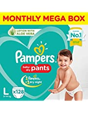 Pampers baby-dry pants Monthly Mega box ,LARGE (128 PANTS)