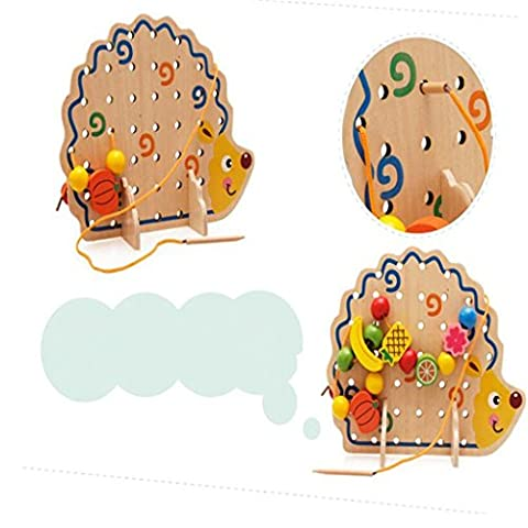 Edealing (TM) Hedgehog à fruits en bois Threading créatif Lacage Stringing Beads Building Toys for Early Education