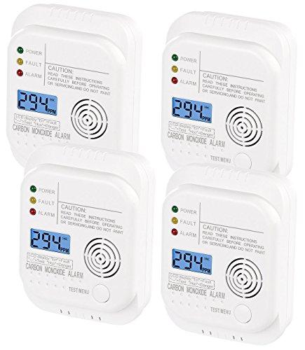 VisorTech Kohlenmonoxid Warner: Kohlenmonoxid-Melder mit LCD-Display, 4er-Set (Kohlendioxidmelder)