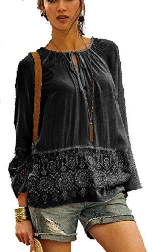 Versandhausware Hippie Boho Tunika Bluse schwarz mit Stickerei 962553 (38) - Hippie Tunika Bluse