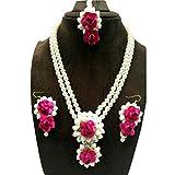 #7: Flower Gota Patti Jewelry Set With Earrings, Maang Tika For Women & Girls