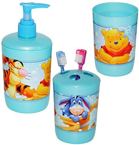 alles-meine.de GmbH 3 TLG. Badset - Zahnputzset _  Disney Winnie The Pooh  - Seifenspender + Zahnputzbecher + Zahnbürstenhalter - z.B. für Zahnbürste - Kinder & Baby - Kinderza.. (Disney Fest)