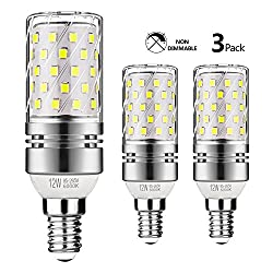 Gezee Led Silver Corn Bulbs E14 12w 6000k Daylight White 100w Incandescent Bulbs Equivalent 1200lm, Non Dimmable Small Edison Screw Candle Bulb, Candelabra Light Bulbs (3 Packs)