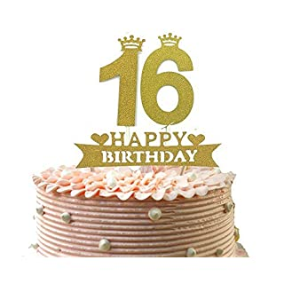 Alemon 16. Kuchen Topper und Sechzehn Happy Birthday Party Supplies Dekoration, Gold, 12,2cm Länge