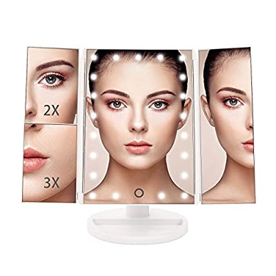 BESTOPE Lighted Vanity Mirror 21 LED Lighted Makeup Mirror with 2X/3X LED Magnifying Mirrors for Countertop Desktop Cordless Cosmetic Spot Mirror Power by Battery or USB Charging produced by BESTOPE - quick delivery from UK.
