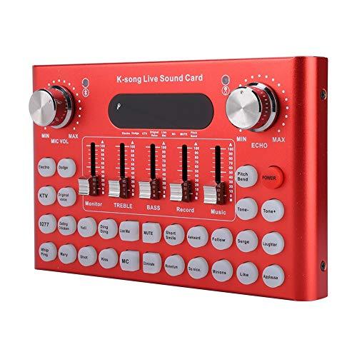 ASHATA Live Sound Card,Multifunktionale Bluetooth Live Soundkarte Intelligente Live Sound Voice,Metall Shell Aufnahme Musik Audio Mixer Soundeffekte Live Sound Card für WeChat/QQ/Computer Live (Rot) - Audio Voice Bluetooth