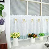 Cotton Linen Cafe Curtain Kitchen Curtain Valance Short Net Curtains