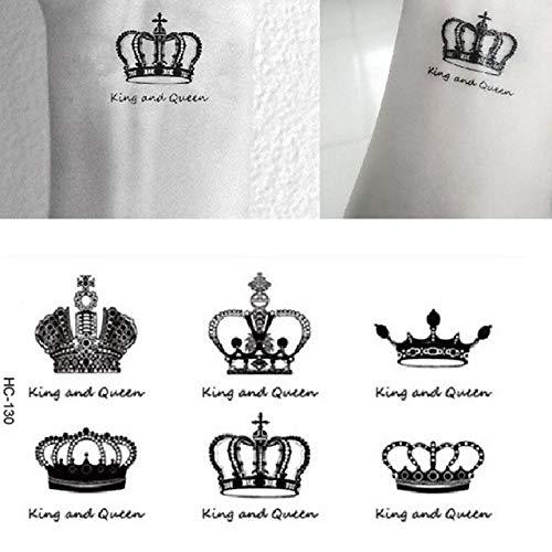 lijnjin König Und Königin Tatto Aufkleber Sexy Lady Body Art Wasserdicht Temporäre Tätowierung Aufkleber Royal Crowns Handgelenk Finger Gefälschte Tattoos 10,5X6 ()