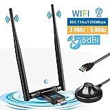 LittleBaby USB WiFi Adaptador Receptor WiFi, 1200Mbps Antena con USB 3.0 Wireless 5DBI Banda Doble 2.4GHz/5.8GHz WiFi Dongle para Desktop/Laptop/PC, Compatible con Windows 10/8/7 XP Mac OS