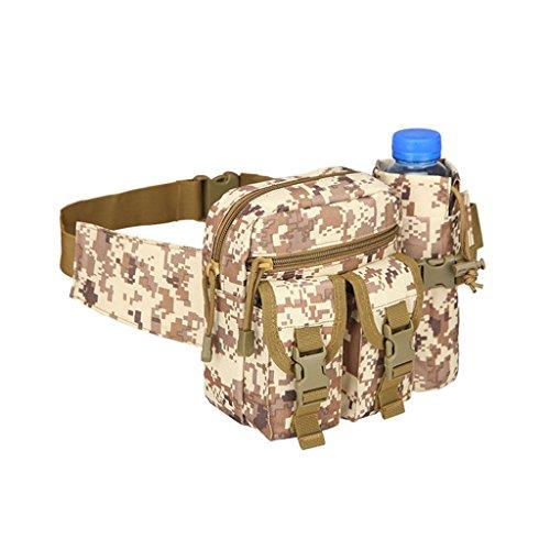hmilydyk Military Fanny Pack Tactical Multifunktional Aufbewahrung Taille Tasche Pack Wasserdichte Hüft Gürtel Tasche mit Wasser Flasche Tasche Halter für Wandern Klettern Reisen Laufen Angeln Outdoor Camo Digital