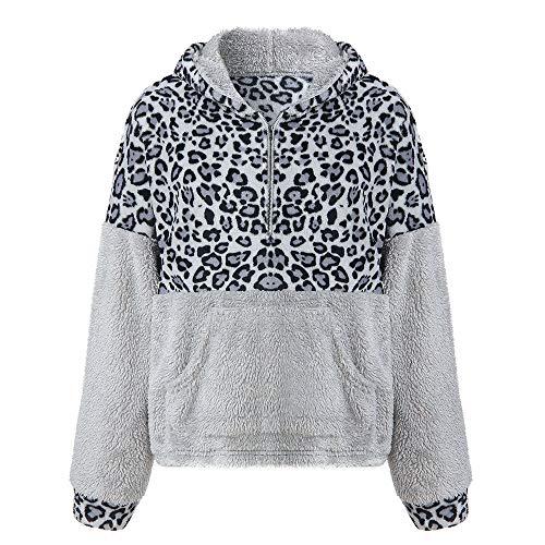 e673e61bb599 Lazzboy Sweatshirt Hoodie Jumpers Womens Leopard Print Long Sleeve Warm-up  Faux Fur Zipper Pocket