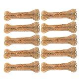 AOLVO Rohhaut Knochen gepresst Rohhaut Knochen für Hunde Welpen Rindfleisch Geschmack Natürliche Kauknochen gepresst Rohleder Knochen Rindsleder Knochen für Aggressive Kauer, 10pcs - 5.5x2cm