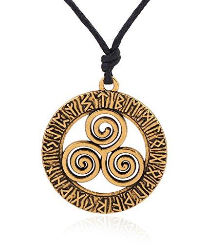 Collar con colgante de nudo irlandes con triple espiral celta, estilo vintage, amuleto nordico con 24 runas antiguas