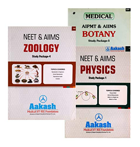 Aakash NEET & AIIMS Study Package Physics, Zoology & Botany Set of 20-24 books