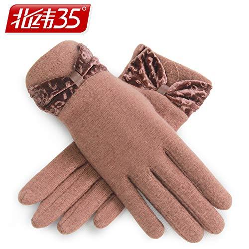 Kamel-bogen (STnh Handschuhe Winter Damen warme kalte Cashmere Handschuhe Gitter, Bogen Kamel)