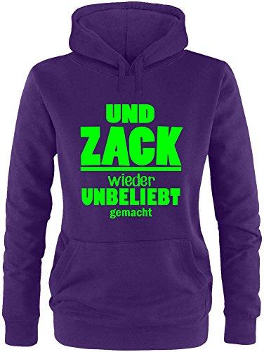 EZYshirt® Und Zack ! Wieder unbeliebt gemacht Damen Hoodie Lila/Neongruen