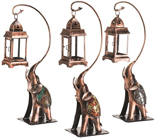 Mosaic Metal Crafted Indian Elephant with Hanging Moroccan Lantern (Black)