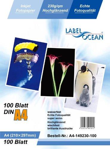 LabelOcean Premium Fotopapier A4 230g/qm High Glossy hochglänzend wasserfest 100 Blatt - Ocean Blatt