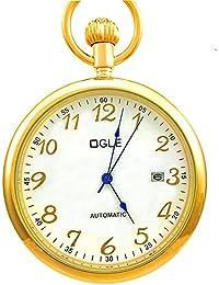 Ogle 3ATM impermeable Vintage acero inoxidable oro blanco grande cara calendario FECHA llavero Self bobinado automático esqueleto mecánico reloj de bolsillo cadena caja