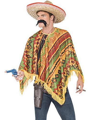 Bardame Kostüm - Halloweenia - Herren Männer Mexikaner Kostüm Set mit Poncho und Schnurrbart, perfekt für Karneval, Fasching und Fastnacht, One Size, Orange
