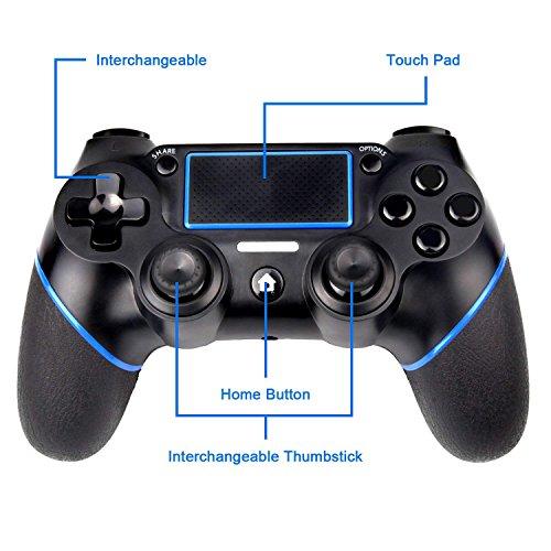 Contrôleur QP4, sades C200 Bluetooth Gamepad six Axies DUALSHOCK 4 contrôleur sans fil pour Playstation 4, panneau tactile Joypad avec double vibration
