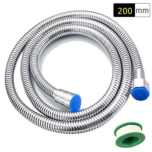 Funxim Hochwertiger Brauseschlauch 2,0m lange Edelstahl Duschschlauch, Flexibler Explosionsschutz für alle Duschkopf(G1 / 2) Doppel-Lock mit Wasserdichtband