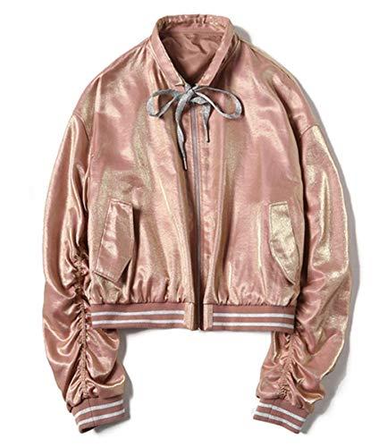 IWFREE Damen Bomberjacke Bomber Jacke Piloten Elegant Baseball Mantel Outwear Cardigan Coat Kurz Lose Jacke mit Stehkragen Reißverschluss...