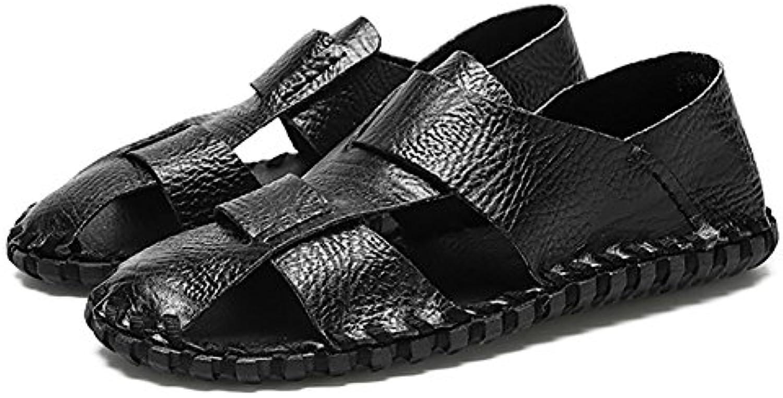 ZJM  Sommer Mann Sandale Strand Schuhe geschlossene Zehe entworfen weiche echte Leder rutschfeste Fischer SchuheSandale geschlossene entworfen rutschfeste Fischer