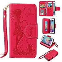 Beddouuk Samsung Galaxy S6 Case,Samsung Galaxy S6 Flip Case,Premium Folio PU Leather Wallet Case with [Kickstand][Card Holders][Magnetic Closure][Wrist Strap],Pressed Rose Girl and Cat Flip Notebook Full Body Case Cover for Samsung Galaxy S6-Rose