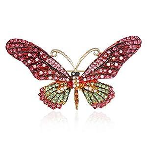 AILUOR Damen Vintage Schmetterlings-Brosche, Bunte Strass Kristall Antike Nette Tierform Corsages Schal Clips Broschen