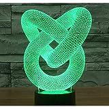 3D Luz De Noche 7 Colores Cambian Control Táctil Dormitorio Usb Lámpara De Mesa Decorativa Regalo De Cumpleaños Anillo