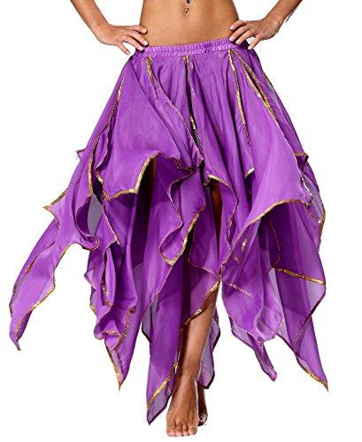 Kostüm Esmeralda - Chiffon Bauchtanz Rock Orientalische Kostüme Damen Seitennaht Glänzende Kante, 13 panel-Dunkelviolett, 32/34/36/38/40/42