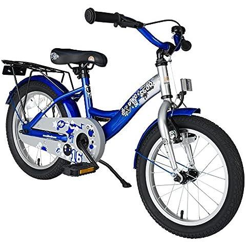 BIKESTAR® 40.6cm (16 pulgada) Bicicleta para un paseo tranquilo y seguro para niños de 4 años ★ Edición Clásico ★ Plateado &