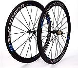 XIAOL Rennrad Laufräder Laufradsatz 700C 34T Vollcarbon 50mm Doppelwand Schnellspanner V-Brake Kompatibel 8/9/10/11 Geschwindigkeit,A-50mm