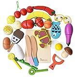 HOWADE Juego de Alimentos Play 30 Piezas, Alimentos de Corte de Madera Juego de Muebles y Frutas magnéticos de Cocina Juguete Educativo para niños en Edad Preescolar niños pequeños niños niñas