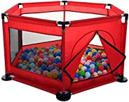 Baby Kids Playpen Activity Center Room Fitted Floor - with 50 pcs Balls Safety Protection Care Crawling Foldin