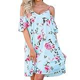 feiXIANG Damen Sommer Kleid Off Schulter Floral Bedruckt Lange Maxi Kleider Dress Frau Blumendruck Kleid Partykleid (S, Z/Blau)