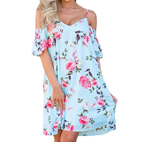 feiXIANG Damen Sommer Kleid Off Schulter Floral Bedruckt Lange Maxi Kleider Dress Frau Blumendruck Kleid Partykleid (XL, Z/Blau) (Anzug Floral)