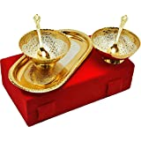 M.G.R.J German Silver Set Of Bowl's With Spoon's And Tray Beautiful Precious Gift (2, Gold And Silver)