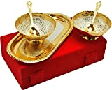 #8: M.G.R.J German Silver Set Of Bowl's With Spoon's And Tray beautiful precious gift (2, Gold and Silver)