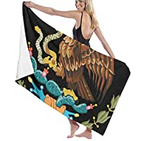 TZ Charming Bath Towels, Cool Mexico Flag Eagle Black Wash Cloths 100% Polyester Yoga Towel Highly Absorbent Sauna Towel Quick Drying Bath Sheets for Home Hotel Spa 80x130cm