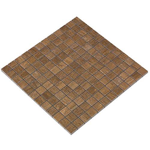 """""""Timber Nature Valley"""" Mosaik 2,3x2,3 cm, glasiertes Feinsteinzeug in Holzoptik"""
