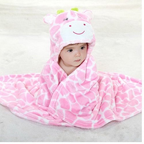 dingang kids baby bath bathrobe cute giraffe hooded ultra soft fleece bathing wrap blanket 0 6. Black Bedroom Furniture Sets. Home Design Ideas