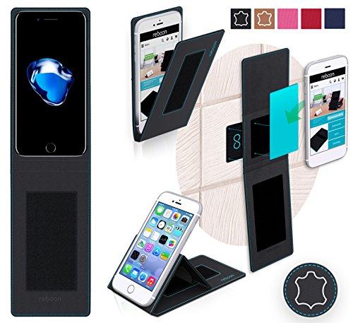 Étui pour Apple iPhone 7 Plus de couleur Cuir Noir - Boîtier innovateur 4 en 1 Coque Smart Cover Case - Support mural anti-gravité, porte-smartphone de voiture, support de table - Boîtier de protectio Cuir Noir